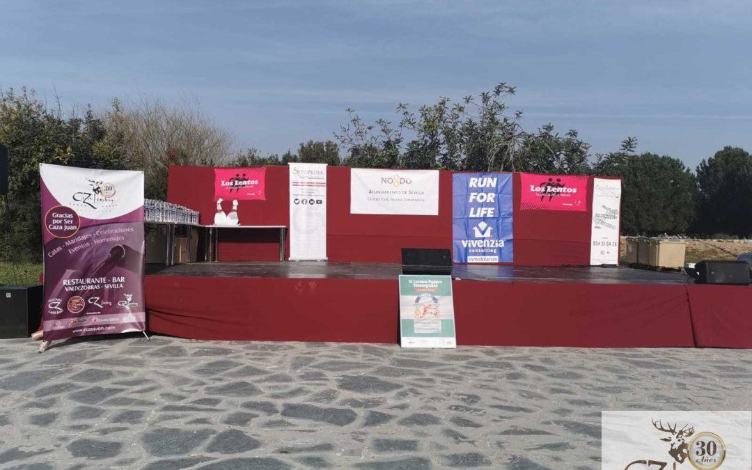 Caza Juan, restaurante en Sevilla, colaborando en la IX Carrera Parque Tamarguillo por el Día de Andalucía