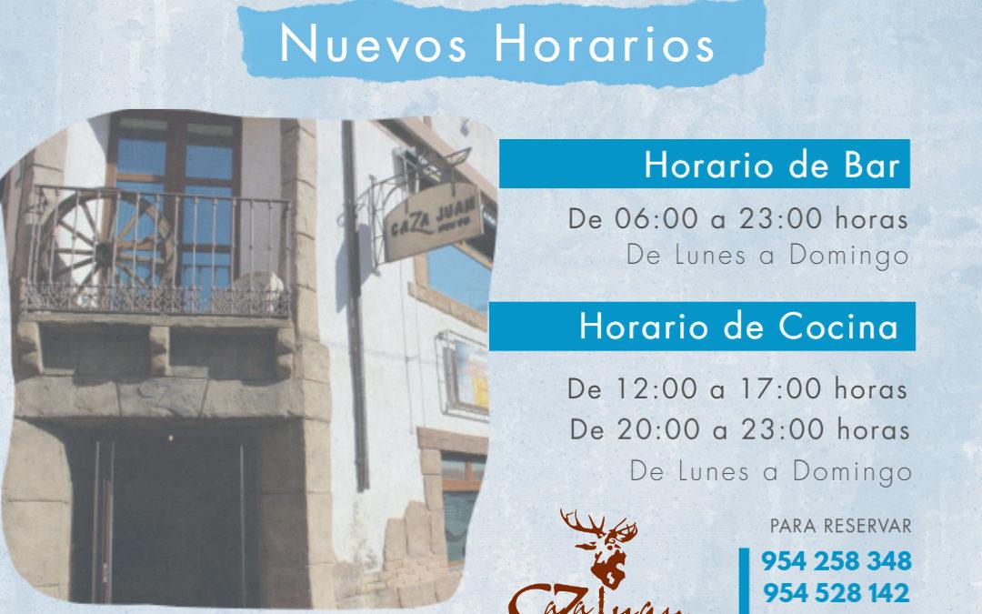 Nuevos Horarios en Caza Juan, tu restaurante en Sevilla